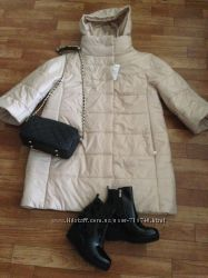 Бежевое пальто  р. 44-50