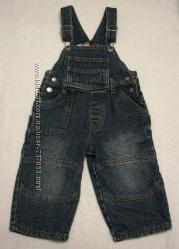 Демисезонный джинсовый комбинезон на подкладке, р. 92