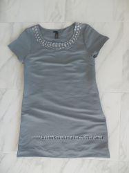 Платье серое  М-ка 12-ка H&M плотный хлопок