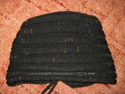 Шапка Кошечка черная с золотой нитью