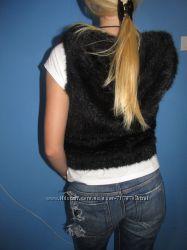 Новая шуба, шубка, жилетка из вязаной норки с капюшоном и карманами
