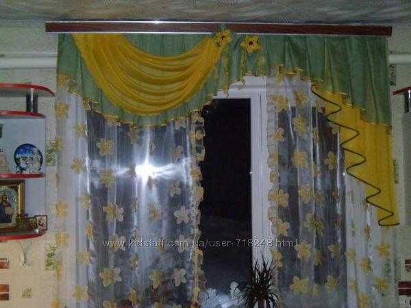 Красивые шторы с ламбрекеном на кухню