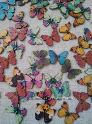 Декоративные деревянные пуговицы-бабочки