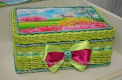 Плетеные шкатулки, ручной работы
