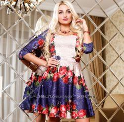 Платье с принтом цветов, с юбкой клеш - Размеры 46-48 - L