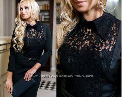 Строгое деловое офисное черное платье - Размер S42-44