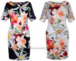 Платье в цветочный принт - Размеры 42, 44, 46, 48