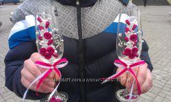 Под заказ прекрасные свадебные бокалы  ручной работы