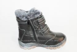 кожаные зимние ботинки на цигейке р. 33-38