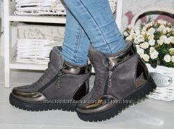 Ботинки зимние женские высокие 2 молнии переплет лаковый носик и пяточка се