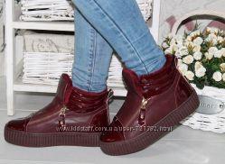 Зимние женские ботинки на меху 2 молнии кожа марсала бордовые
