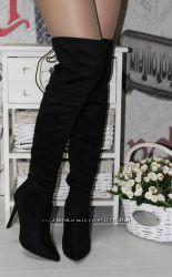 Ботфорты замшевые на шпильке острый носок сзади шнуровка черные