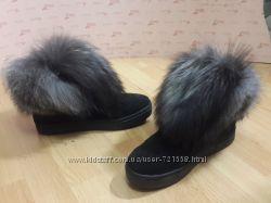 Кожаные замш ботинки зима 2017 в наличии чернобурка, таскано, енот, кролик