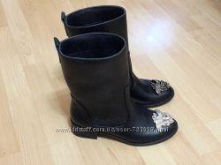Кожаные ботиночки реплика Versace деми, зима 2017 новинка
