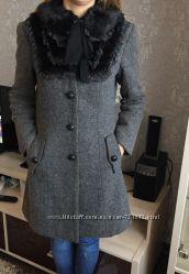 Красивое и оригинальное шерстяное пальто с воротником, Турция