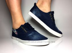 Женские тёмно-синие джинсовые кеды, слипоны, на белой подошве
