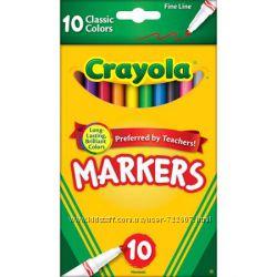 Фломастеры от Crayola 10 шт.  Крейола тонкие, классические цвета
