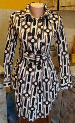 плащ женский бело-черно-коричневый Millennium Basic Размер S