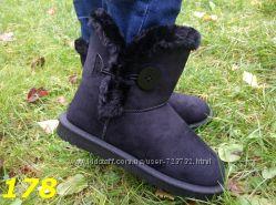 угги сапоги черные на пуговице зима очень теплые Распродажа