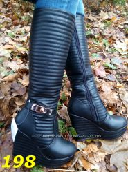 зимние сапоги на платформе и плоский ход на меху