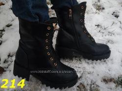 ботинки зимние на тракторной подошве с пряжкой Lilin