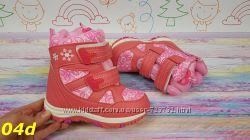 детские сноубутсы ботинки для девочек на овчине с липучками розовые несколь