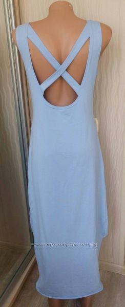 Платье майка небесно-голубого цвета открытая спина