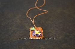 Подвеска хендмейд керамика цветок Карпаты упаковка в подарок 8 марта