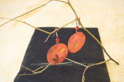 Серьги коралловые из ракушки упаковка в подарок 8 марта