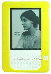 Чехол силиконовый желтый Amazon Kindle 2 плюс защитная пленка