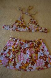 Купальник тройка лиф, шорты, юбка цветочный принт
