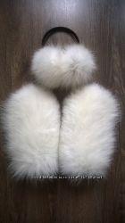 меховые варежки из кролика, лисы и енота мех и кожа натуральная