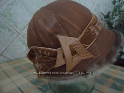 Зимняя натуральная кожаная шапка р. 50.