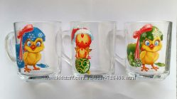 Чашки стеклянные Петушки и Цыплята новогодние