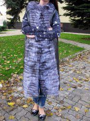 новая 110см жилетка из чернобурки