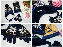 Набор шапка, перчатки, шарфик теплый зимний Mothercare Англия