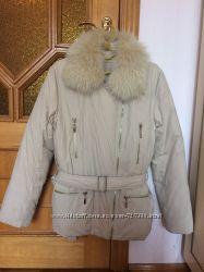 Куртка-пуховик с мехом песца р. S