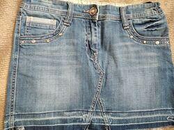 Джинсовая стильная юбка на утяжке, спідниця фірмова, 13-16 лет