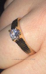 Кольцо позолота фианит, очень стильное, сияющее 18, 5 р-р