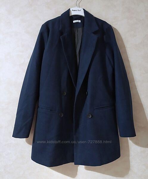 Синее прямое двубортное пальто jacqueline de young, m-l