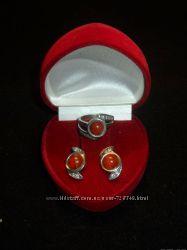 Набор серьги  кольцо серебро 925п сердолик