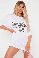 Isawitfirst. Товар куплен в Англии. Платье футболка оверсайз с  бабочками.