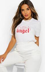 Boohoo. Товар привезен из Англии. Футболка оверсайз с надписью angel.