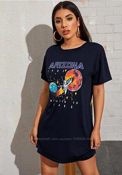 Shein. Англия. Платье футболка оверсайз с неоновым  рисунком космоса.