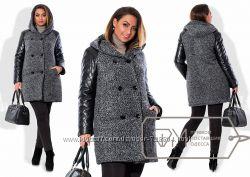 Утепленное пальто с кожаными рукавами батальные размеры большие