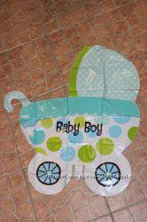 Воздушный шарик коляска на выписку мальчику.