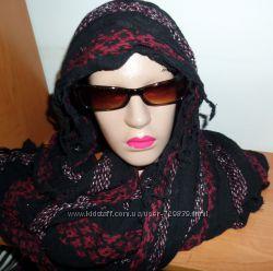 Натуральный хлопково-льняной шарф- снуд C&А