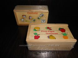 Деревянное Домино транспорт, фрукты, животные. В наличии.