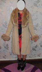 Пальто кашемировое, зимнее мех песец срочно