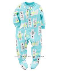 Флисовый слип, теплая пижама флис Картерс, Carters, 12м-5т